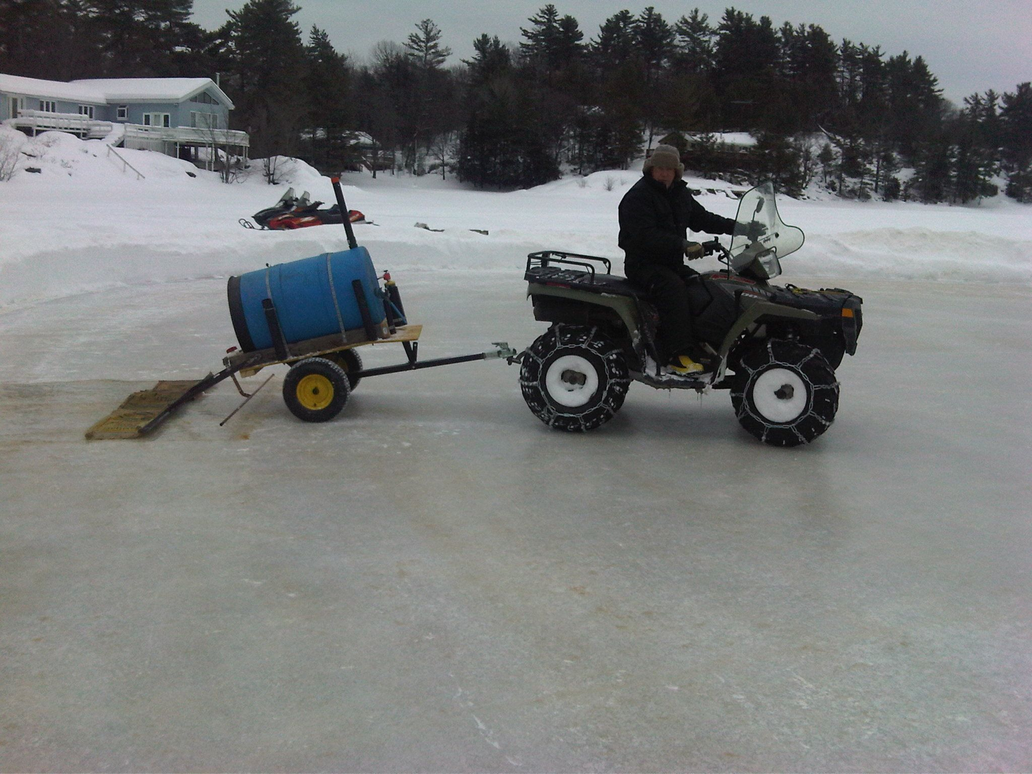 Homemade Ice Resurfacer Outdoor Spaces Backyard Ice Rink Ice