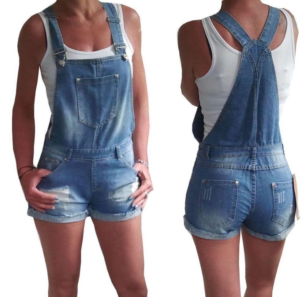 Find more on www.fashion-darling.de NEU Kurze Damen Latzhose Shorts Latzshorts Jeans S M L 36 38 40 42 blau Overall