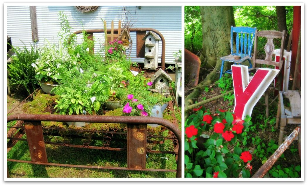 whimsical plants  rusty junk by #oliveloafdeisgn Decorating ideas