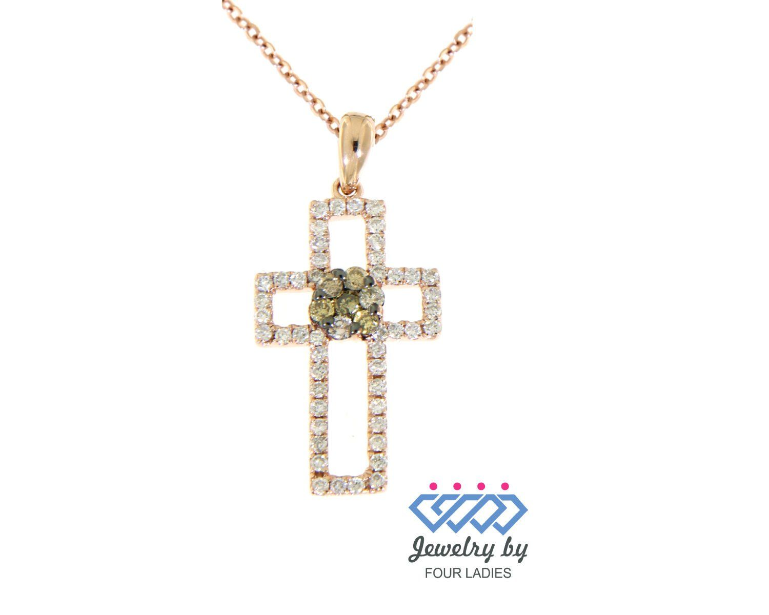 b86fbf966f09c2 Solid Real New Designer Cross Diamond Pendant 14K Rose Gold 0.40Ct Handmade  Religious Jesus Necklaces For Women| Dainty Pendant| Daily Wear by ...
