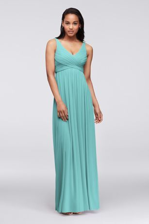 David\'s Bridal // Color: Spa // Style: Long Mesh Dress with Cowl ...
