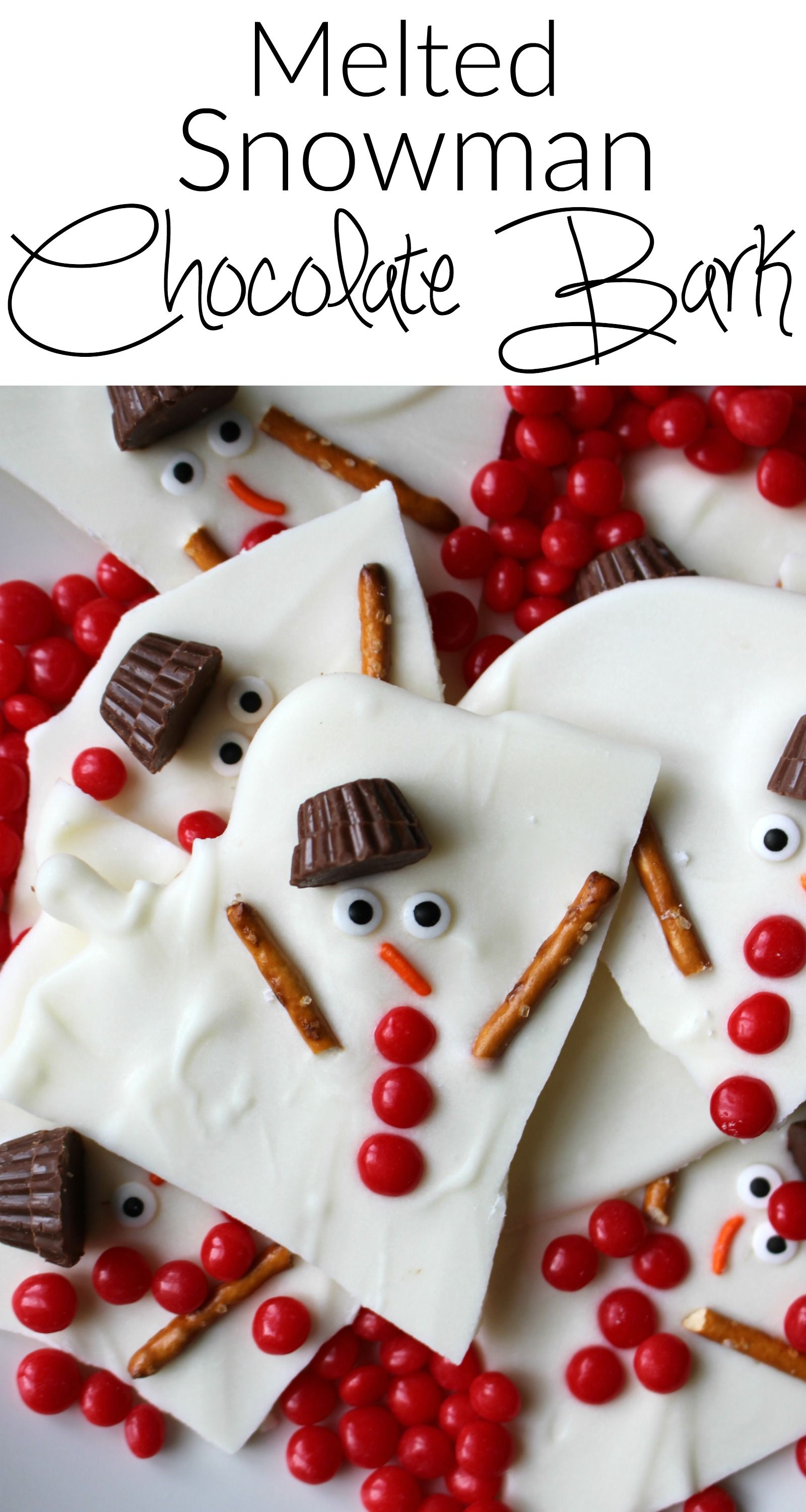 Melted Snowman Chocolate Bark A Super Easy Holiday Dessert A