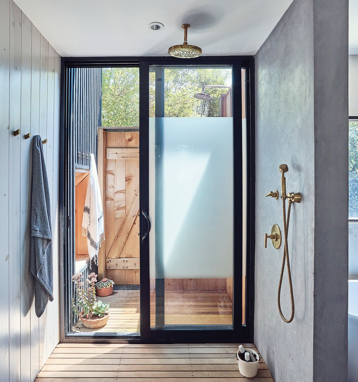 Indoor Outdoor Shower perfectly spare retreats | indoor outdoor, indoor and cabin