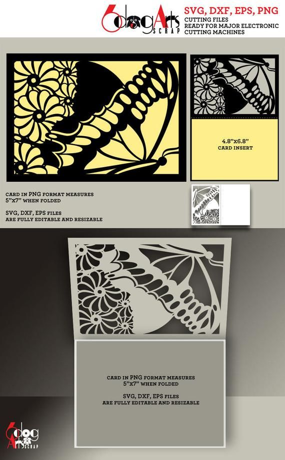 Butterfly Lace Card Template Digital Cut Svg Dxf Files