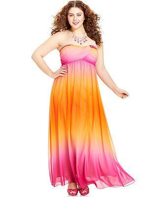 Trixxi Plus Size Strapless Ombre Gown Plus Size Dresses Plus