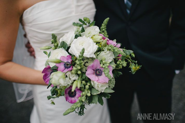 really like this bridal bouquet - not too big, not too small...the greenery is beautiful!  of course yours wld b with blue flowers instead of purple.   800x800 1381324570194 garden bouquet2
