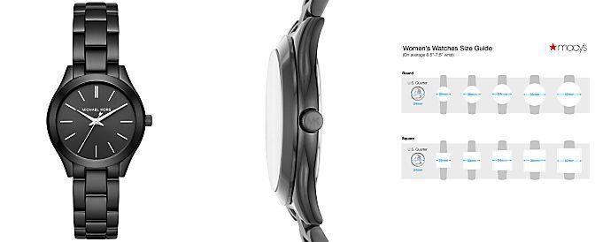 f797fb8c3013 Michael Kors Women s Mini Slim Runway Black Ion-Plated Stainless Steel  Bracelet Watch 33mm MK3587