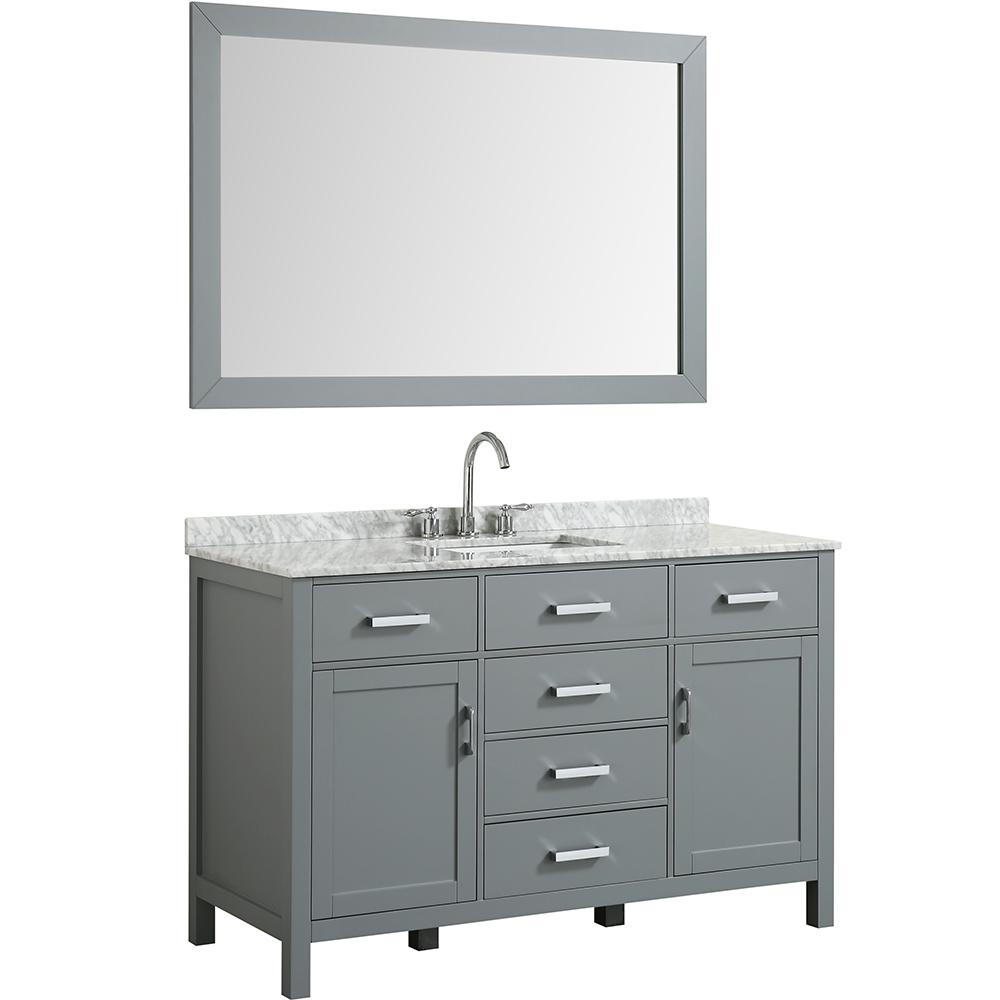 Belmont Decor Hampton 55 In Bath Vanity In Gray With Marble
