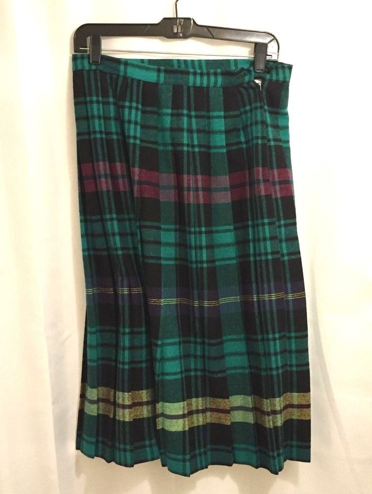 6c12e03fe Vintage Russ Togs Attitude Green Plaid Pleated Skirt Size 14 Waist 30