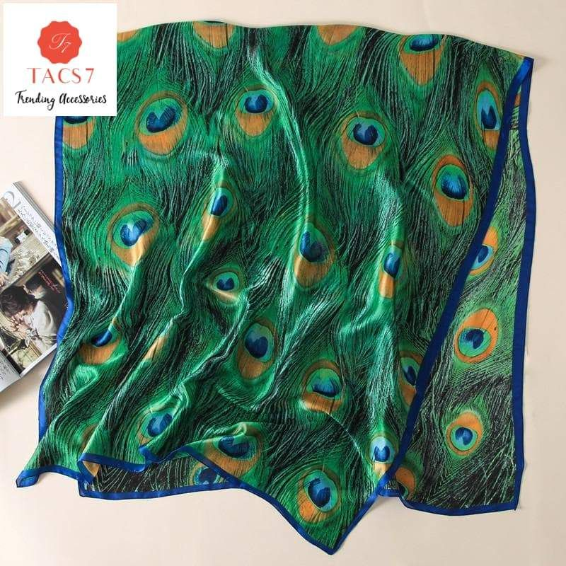 BRAND NEW FEATHER PRINTED PEACOCK  SCARF