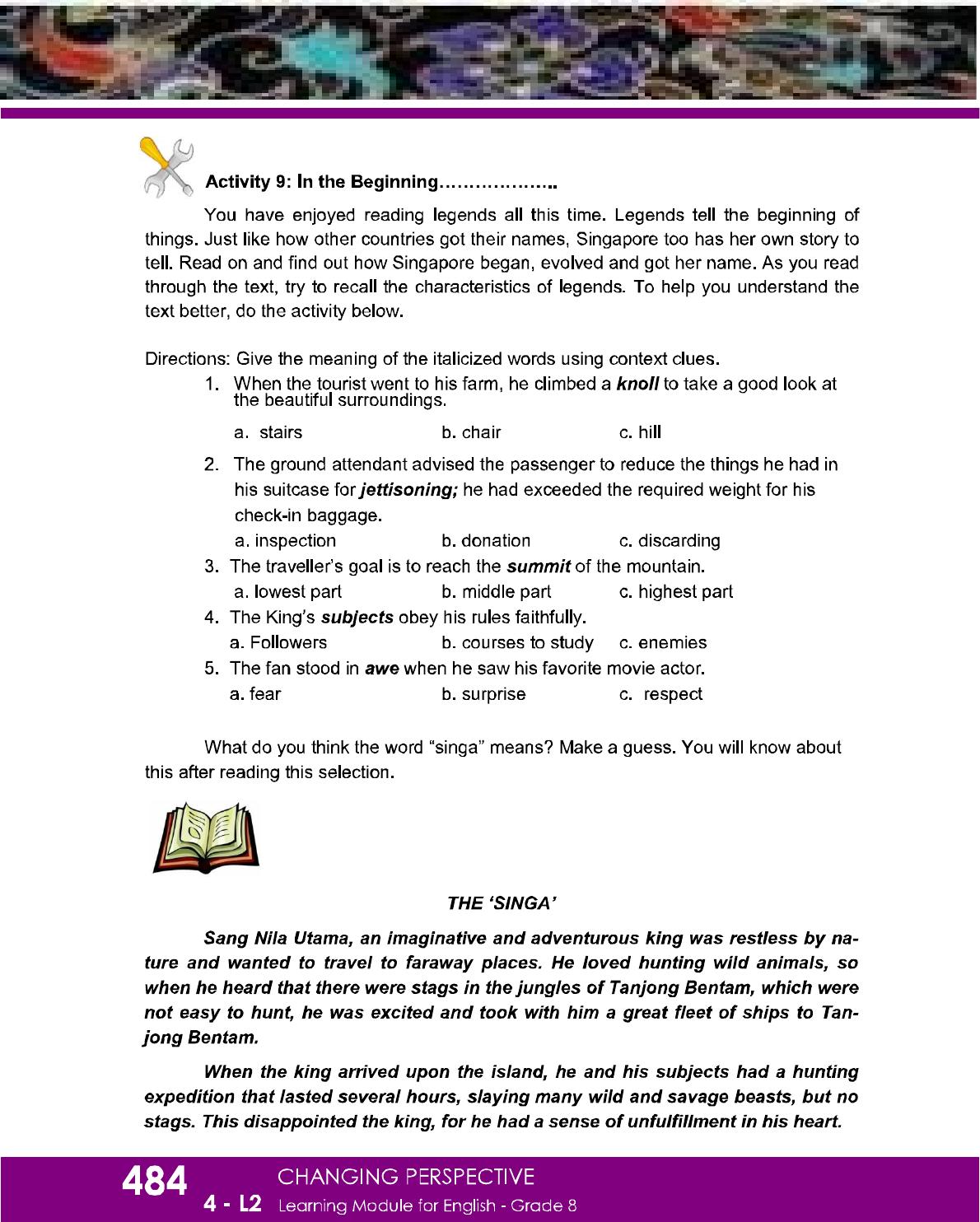 Dep Ed Grade 8 English Learning Guide Quarter 4 In