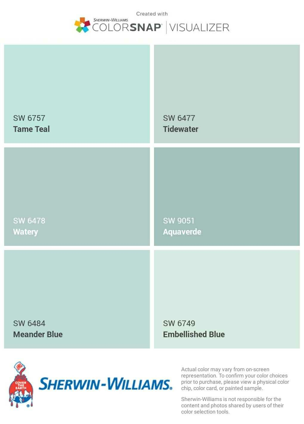 I Just Created This Color Palette With The Sherwin Williams Colorsnap Visualizer App On My Android P Paint Colors For Home Bathroom Paint Colors Coastal Paint