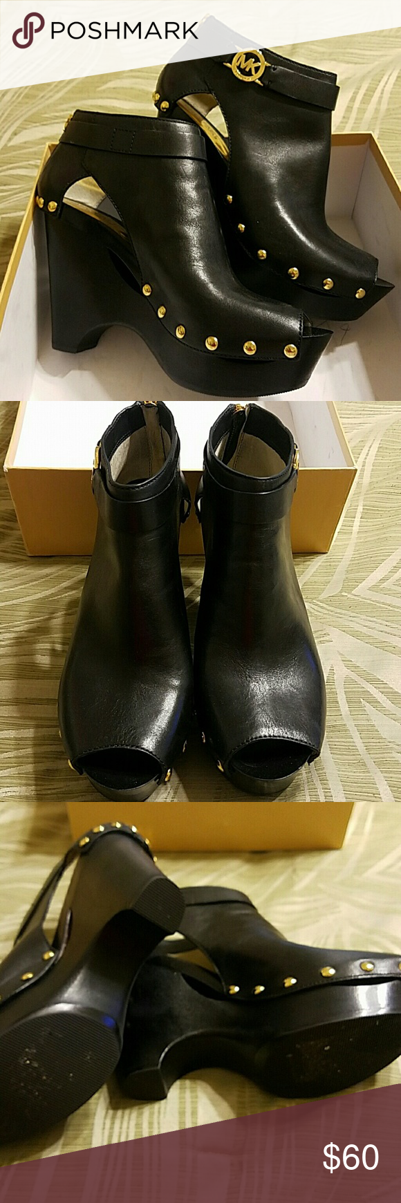 "Michael Kors ""Charm"" Booties Excellent condition leather booties.  No scuffs or scratches other than light wear to soles. Michael Kors Shoes Ankle Boots & Booties"