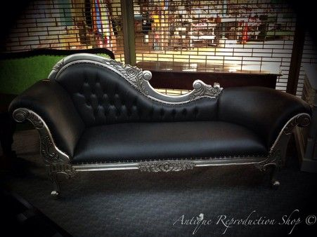 Chaise Lounge Antique Silver with Black Leather French Provincial