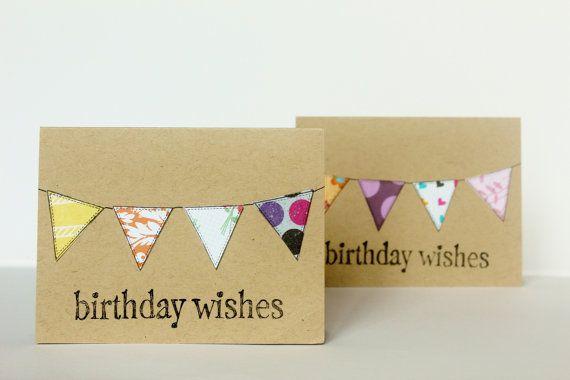 Bulk 24 Birthday Card Set Choose White Or Kraft Assorted Bunting Hand Stamped 3x Happy Birthday Greeting Card Handmade Birthday Cards Special Birthday Cards