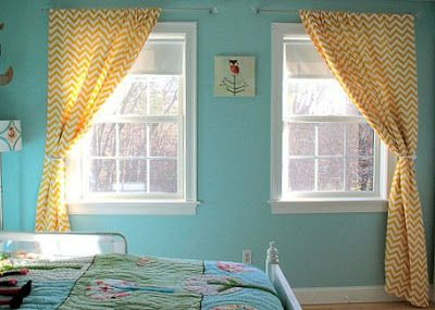 A Different Way To Treat Windows Side By Side With Two Different Bars To Hang The Curtains