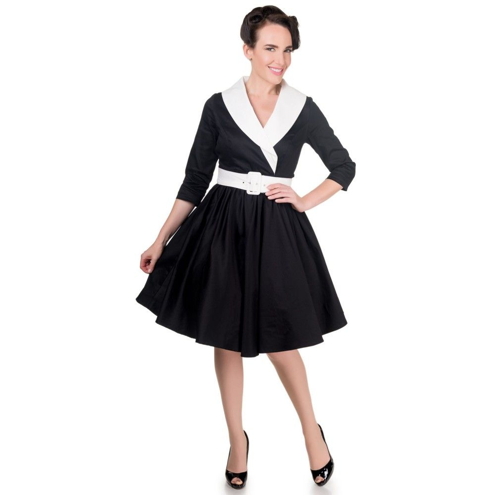 Tiffany long sleeve s vintage dress in blackwhite by dolly and