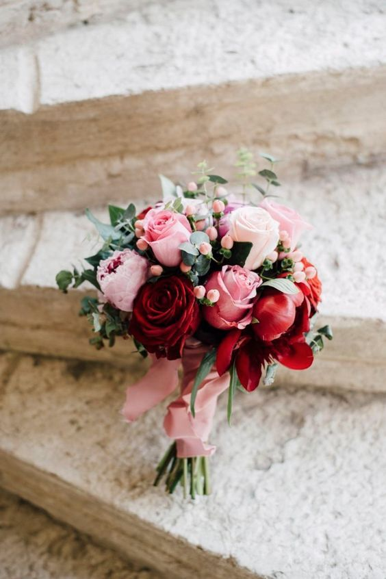Lovely Reds And Pinks In This Posy Wedding Bouquet A Is Typically Small