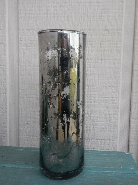 Tall Mercury Glass Vase Or Candle Holder Etsy Home Pinterest