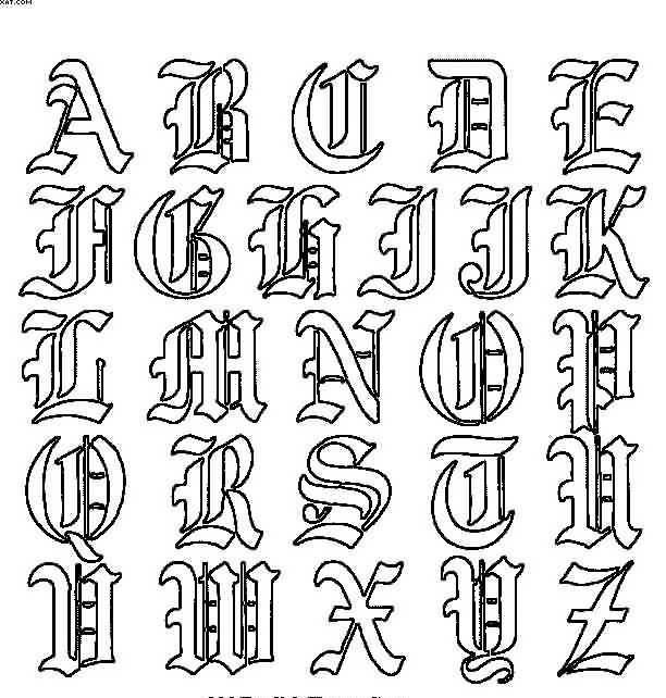 Old English Letters Tattoo Designs