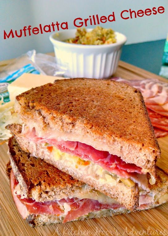 A Kitchen Hoor's Adventures: Muffelatta Grilled Cheese #RumianoCheese #Grilled Cheese Month