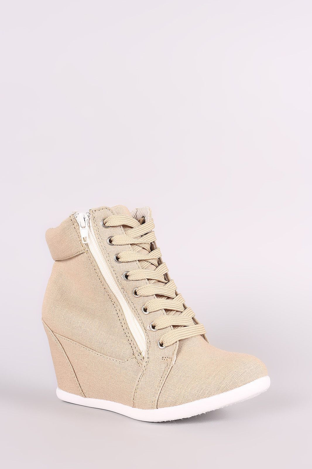 cbb468ea62ca5 Linen Lace-Up High Top Wedge Sneaker   Products   Pinterest