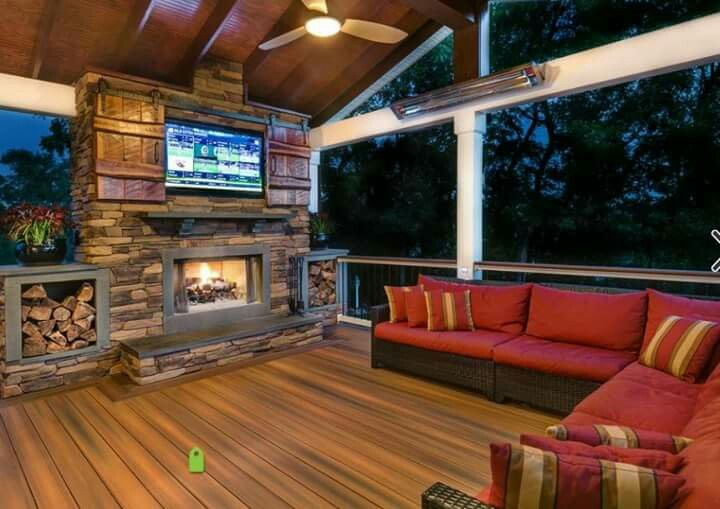 Outdoor Deck With Fireplace And Tv Patio Deck Fireplace Deck Designs Backyard