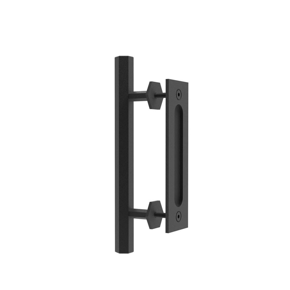 Boyel Living 12 In Black Hexagon Pull And Flush Sliding Barn Door Handle Set In 2020 Barn Door Handles Door Handles Door Handle Sets
