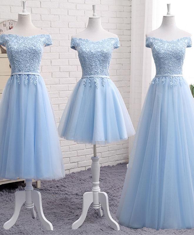 Sky blue A line lace off shoulder prom dress, lace evening dresses