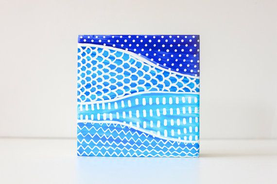 Hand Painted Art Tile . Coaster  Into The Blue . B71 by funkytiles