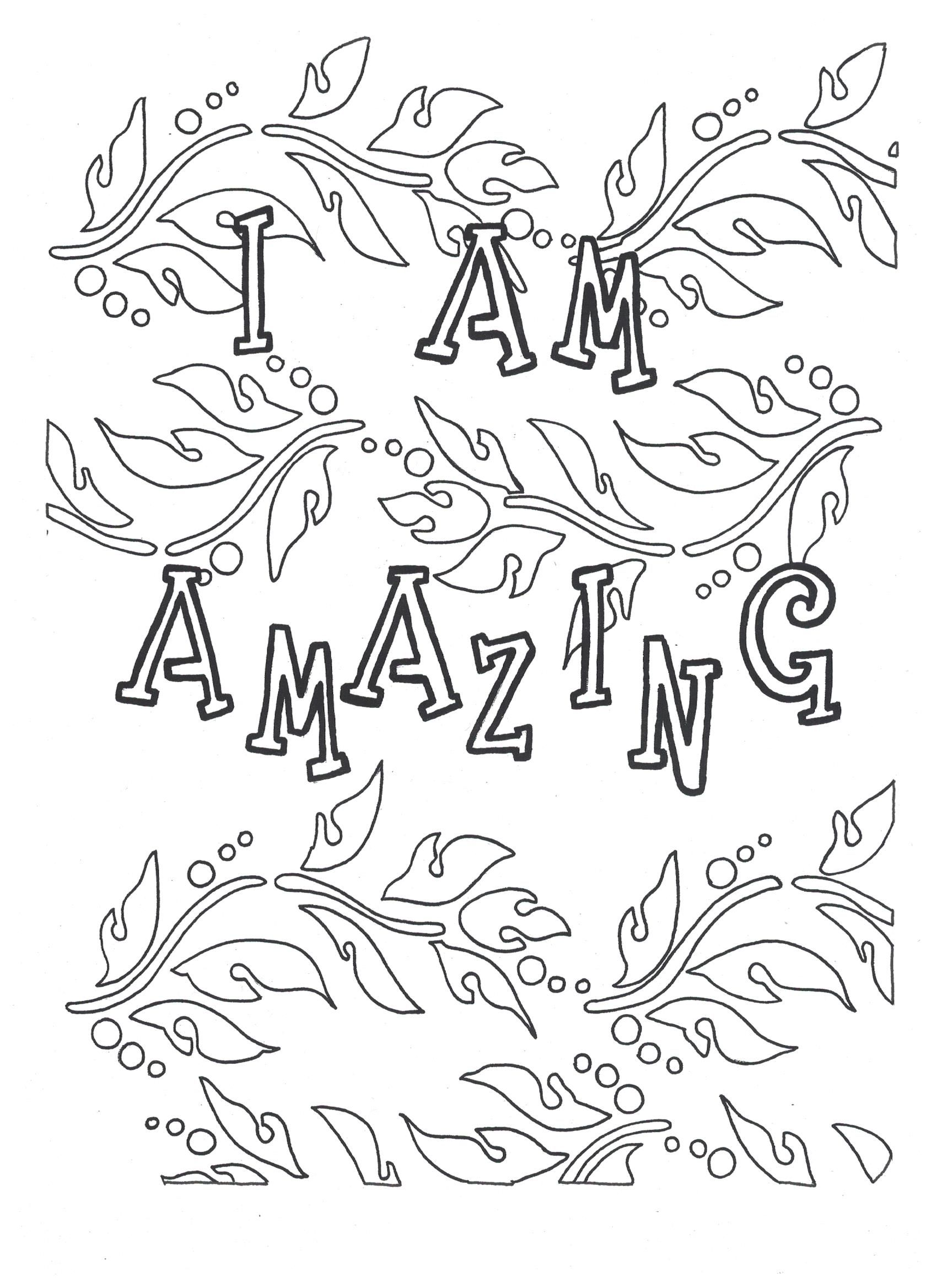I am amazing coloring page SelfLove