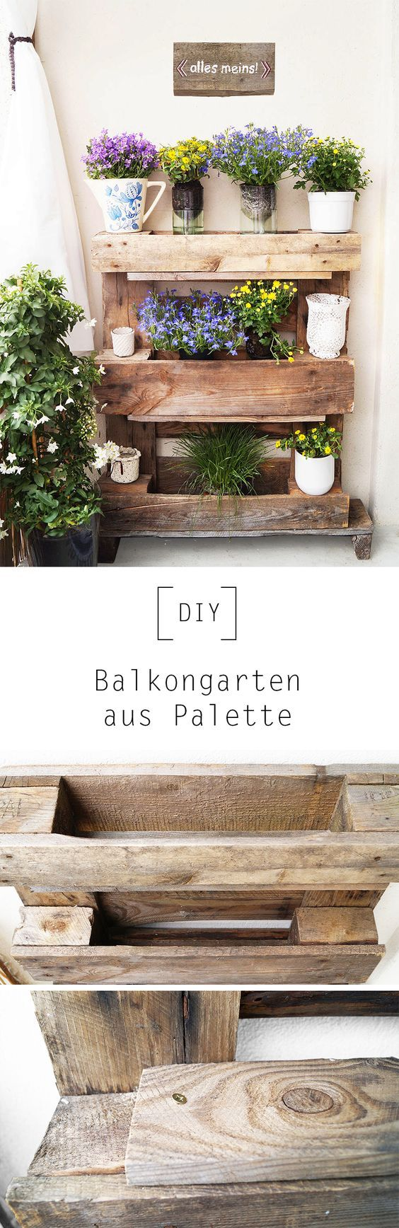balkongarten aus palette by nur noch diy anleitung basteln pinterest balkongarten diy. Black Bedroom Furniture Sets. Home Design Ideas