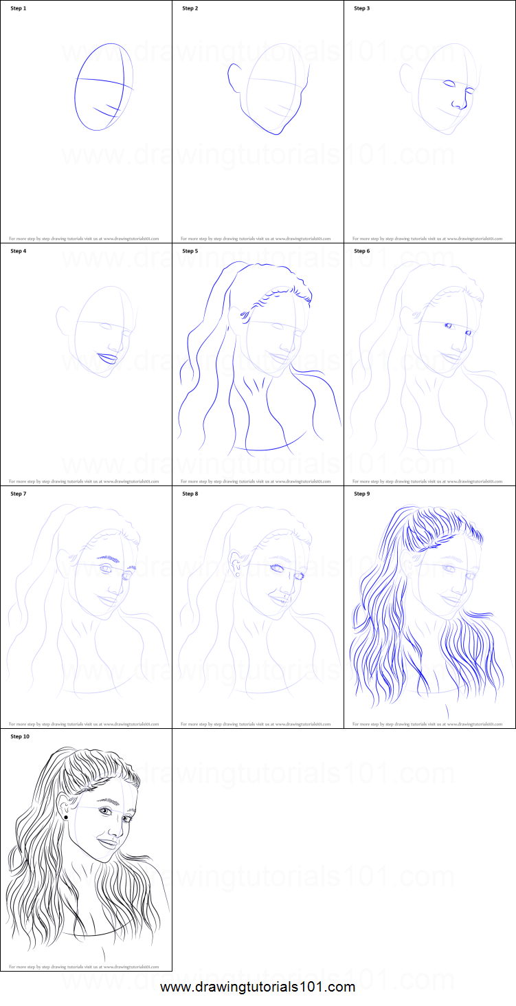 Best way to draw ariana grande step by step