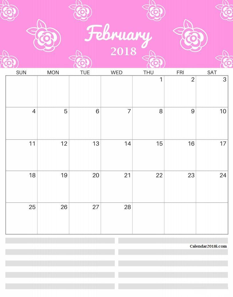Bright Patterns February 2018 Calendar | MaxCalendars | Pinterest