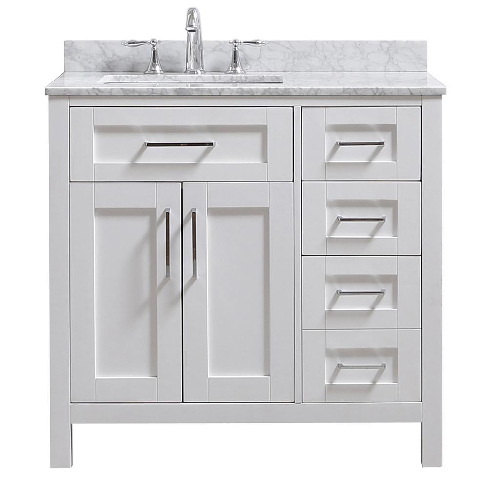 Ove Decors Riverdale 36 In W X 21 In D Vanity In White With Marble Vanity Top In White With White Basin White Sink Marble Vanity Tops Bathroom Vanity Tops