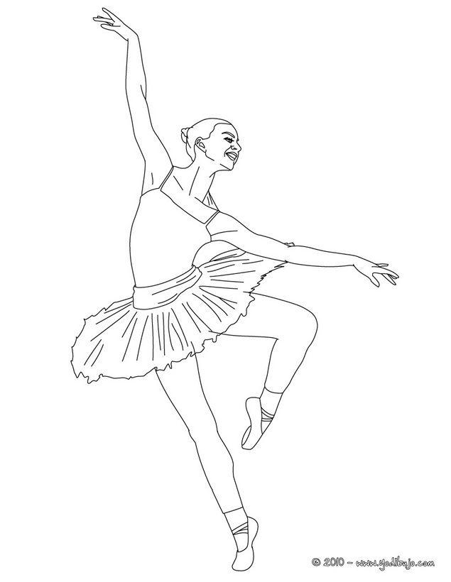 Dibujo para colorear una bailiarina haciendo un piqué demi-pointe ...