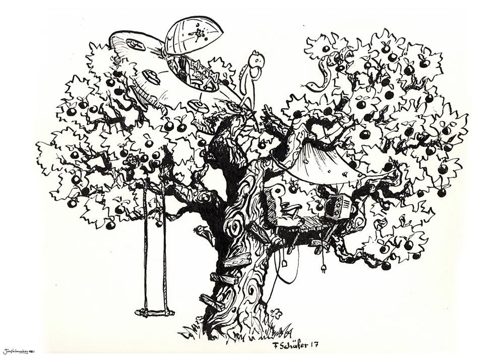Apple tree invasion. A4 ink on paper