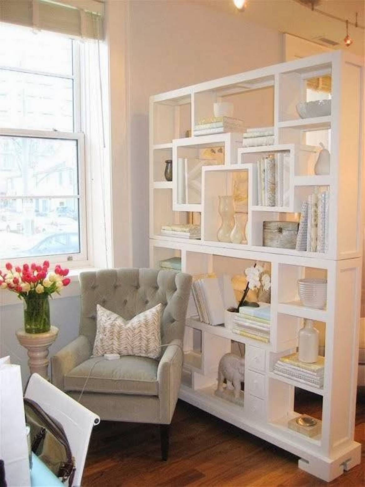 Freestanding bookcase living room divider living room for Room divider storage