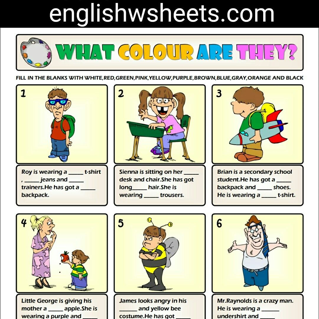 Colors Esl Printable Vocabulary Exercise Worksheet For
