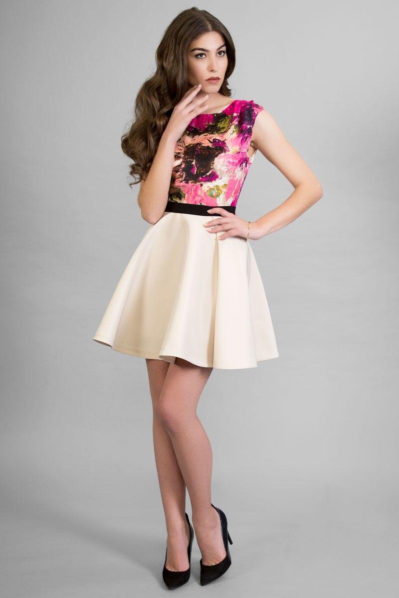f108e5456 vestido estampado corto flores falda vuelo blanca boda fiesta