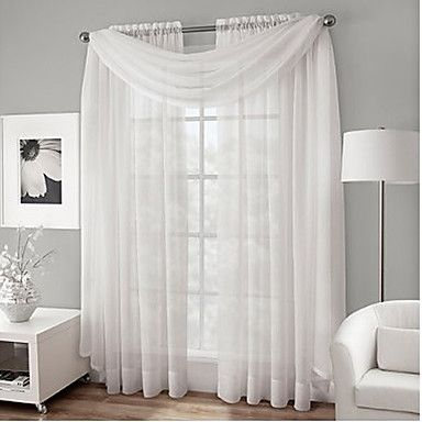One Pair Rod Pocket Voile Sheer Curtain With Scarf