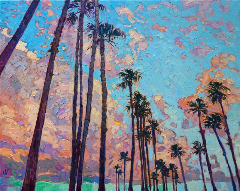 San Diego Palms Dance Along The Coast In This Expressive Oil