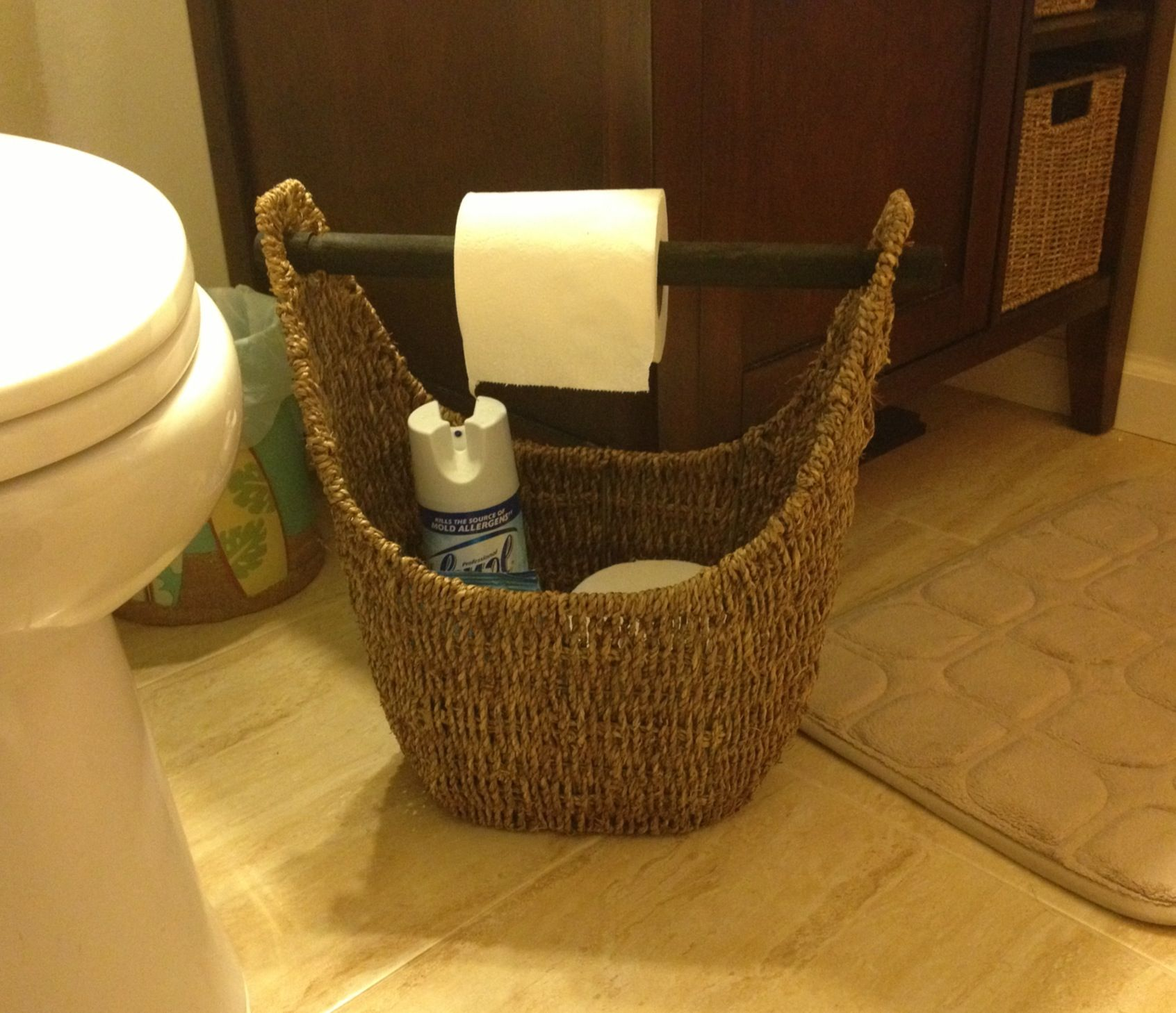 31 magazine basket used in a small bathroom as toilet roll holder as well as storage for extra. Black Bedroom Furniture Sets. Home Design Ideas