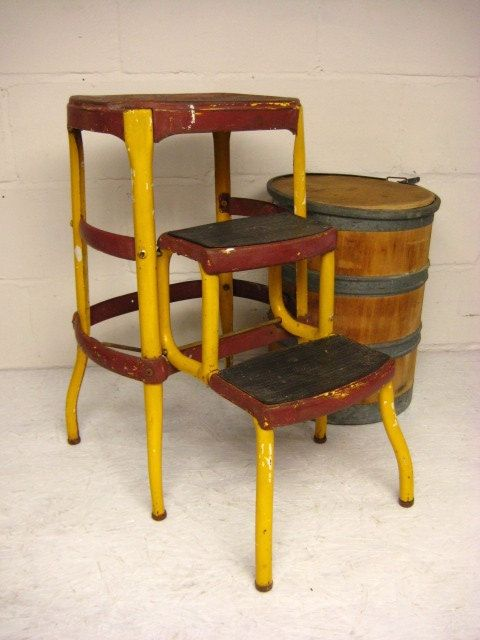 Vintage Kitchen Stool, Cosco Step Stool, Folding Step Stool, Yellow U0026 Red  Metal