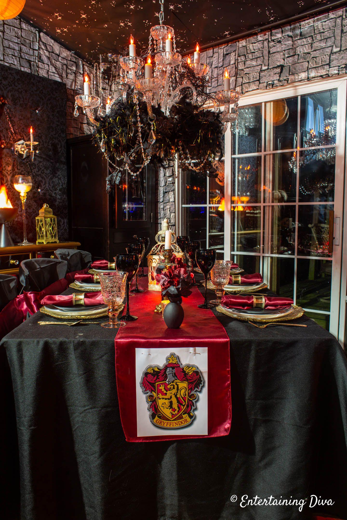 Harry Potter Table Decor Ideas Entertaining Diva From House To Home Harry Potter Table Table Decorations Harry Potter Christmas Decorations