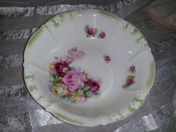Rosepainted china presentation bowl by ShelbysShabbyShop on Etsy, $45.00