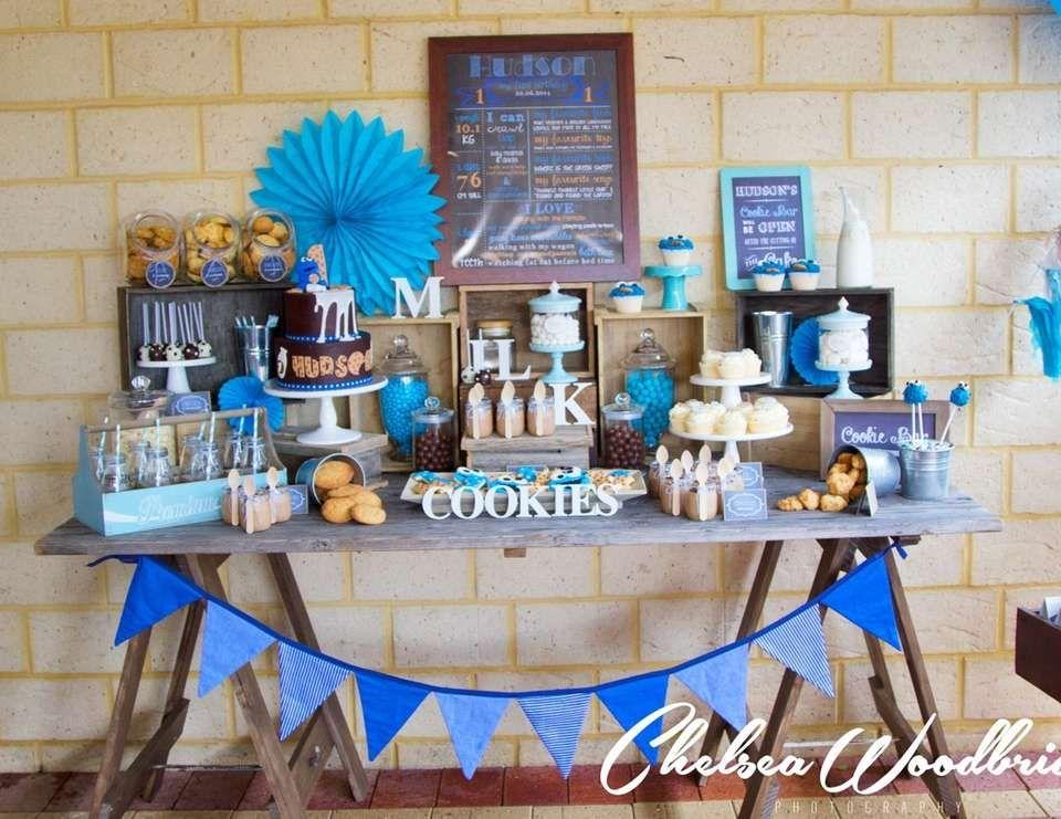 Milk And Cookies Birthday Hudson S Cookie Monster 1st Catch Baby Showersboy