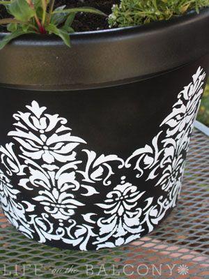 black paint + stencil + white spray paint