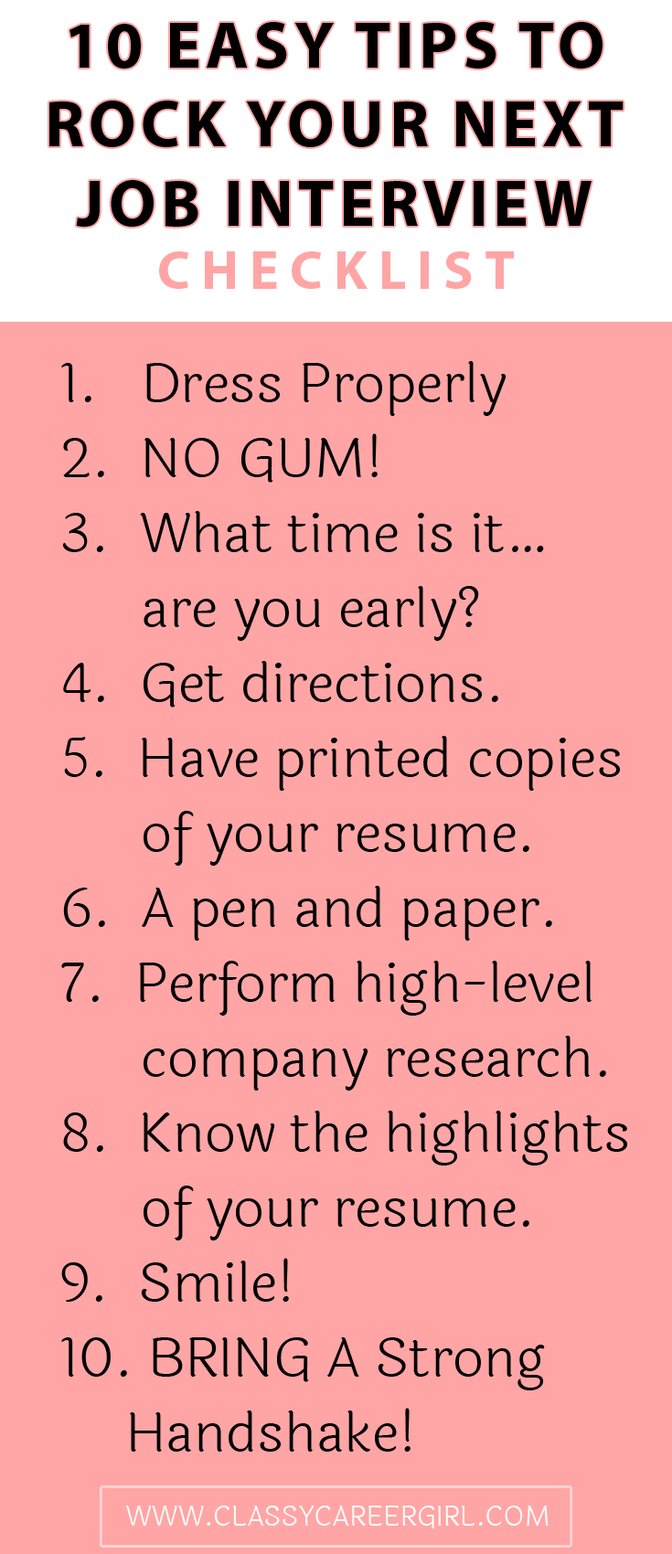 a recruiter s top 5 tips for acing your prescreen interview checklist 10 easy tips to rock your next job interview