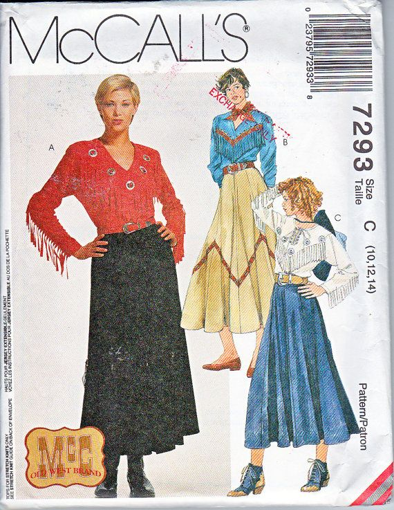 McCalls 7293 Country Western Square Dance Fringe Shirt and Skirt ...